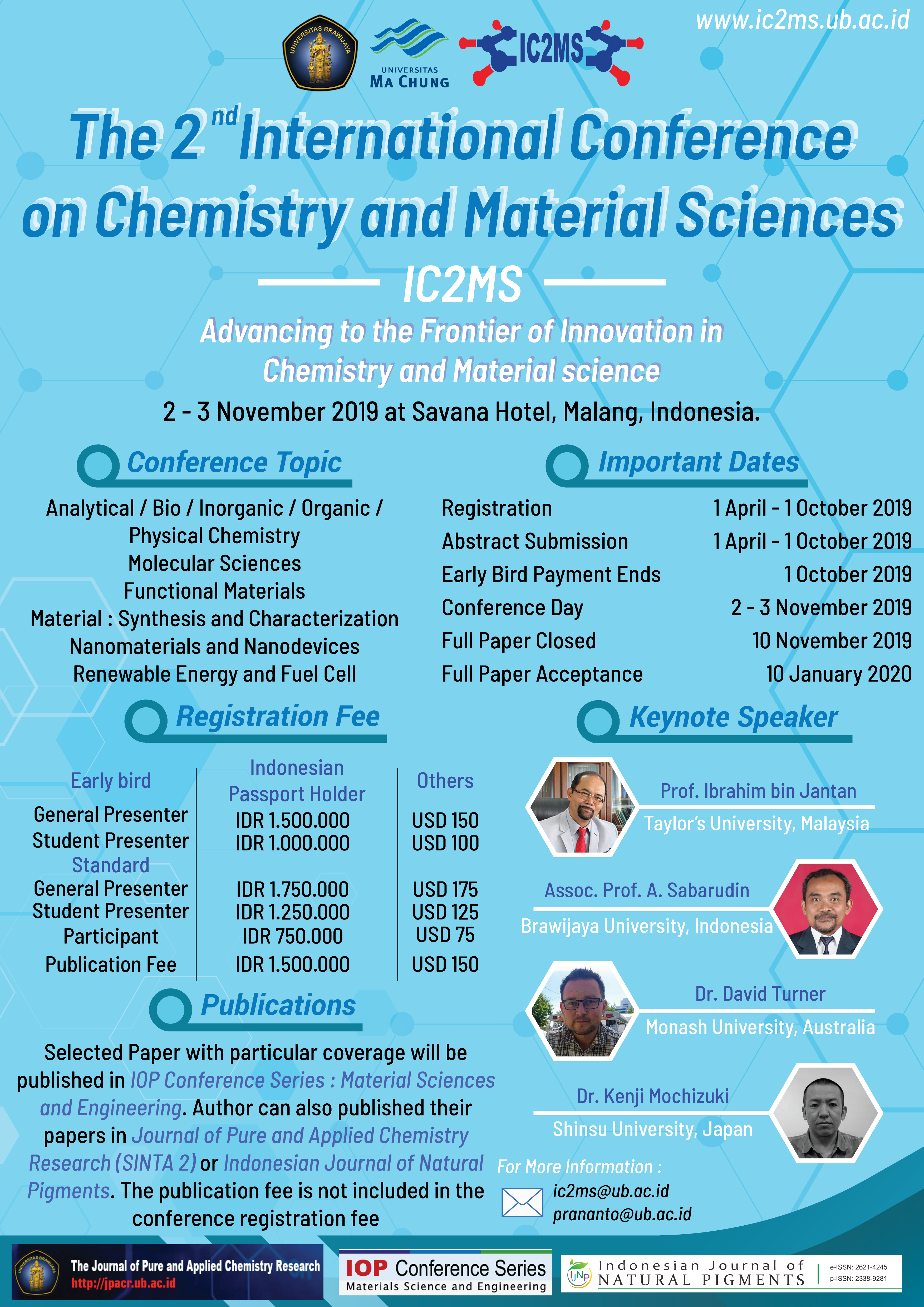 IC2MS – The 2nd International Conference on Chemistry and